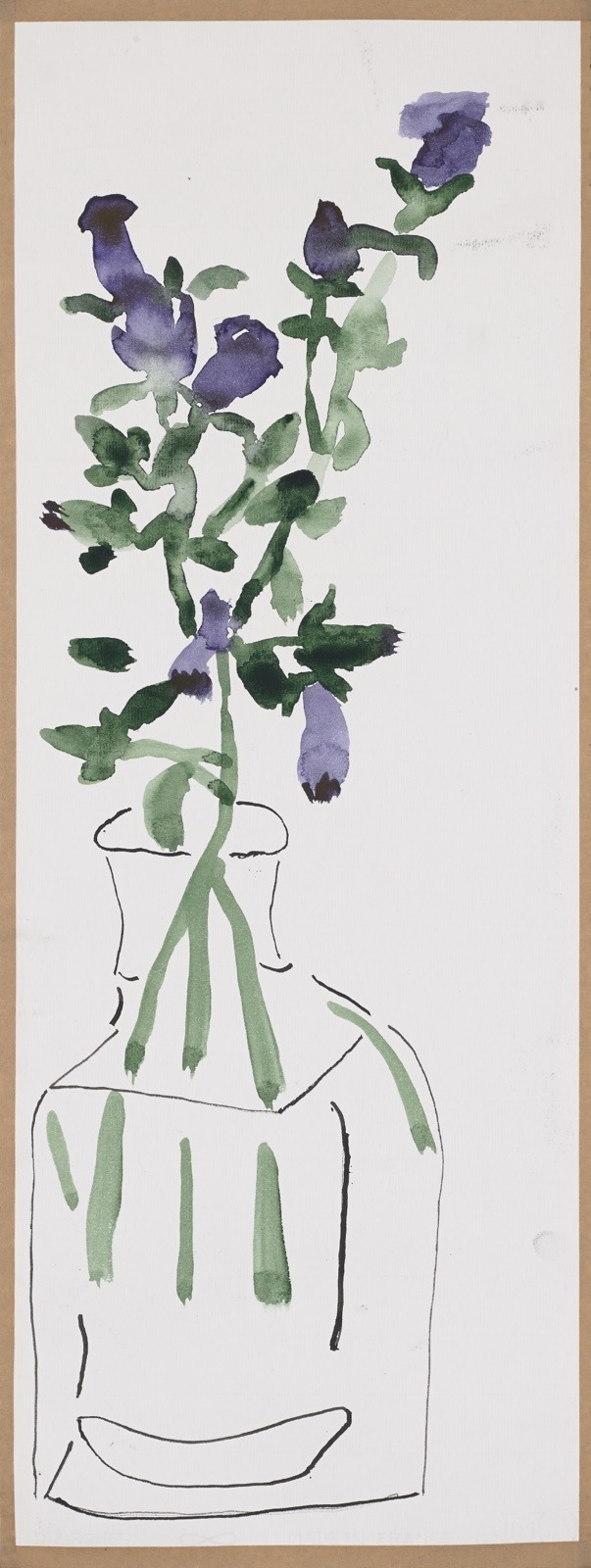 Dessin, aquarelle : Fleurs en bocal