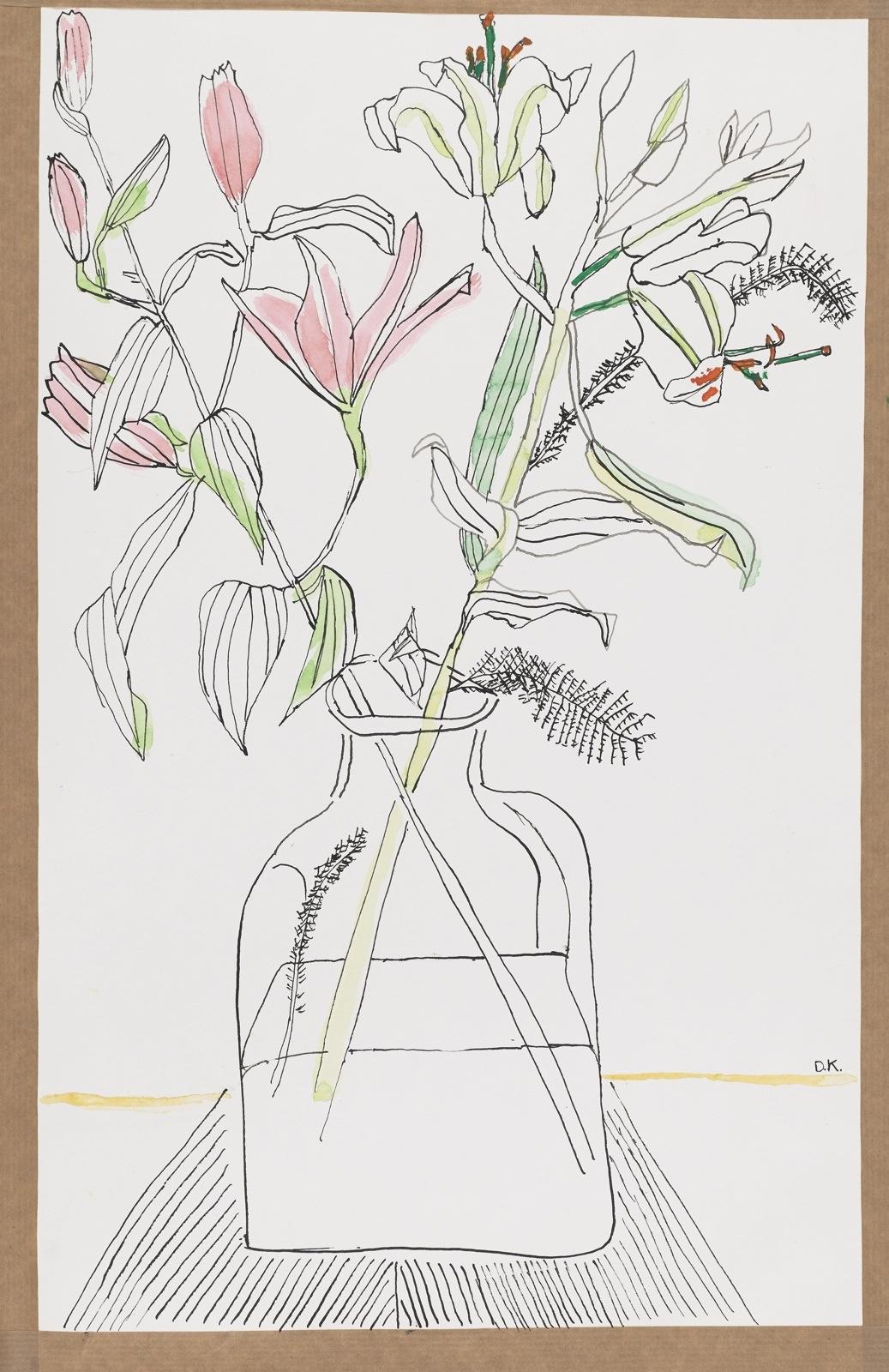 Dessin, encre de chine et aquarelle : Fleurs en bocal