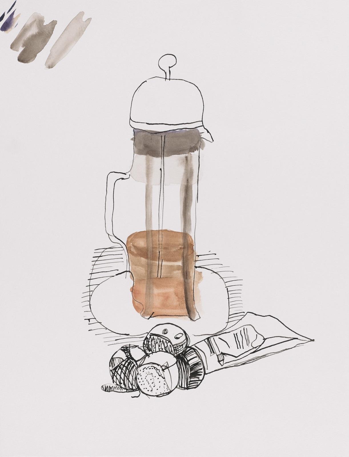 Dessin, Encre de chine et gouache : Cafetier