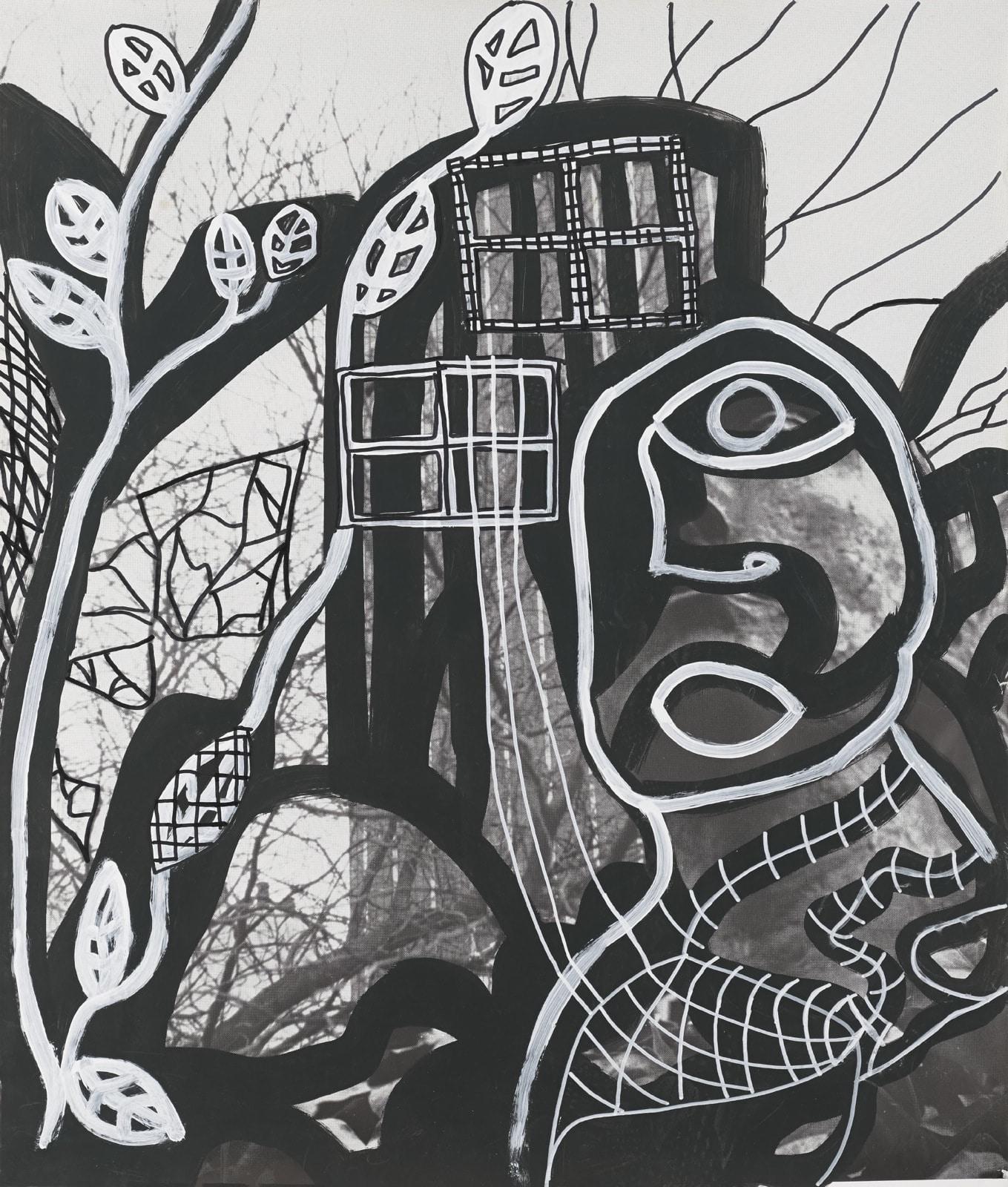 Dessin, Feutres sur fond noir : Vue de ville avec buste d'homme