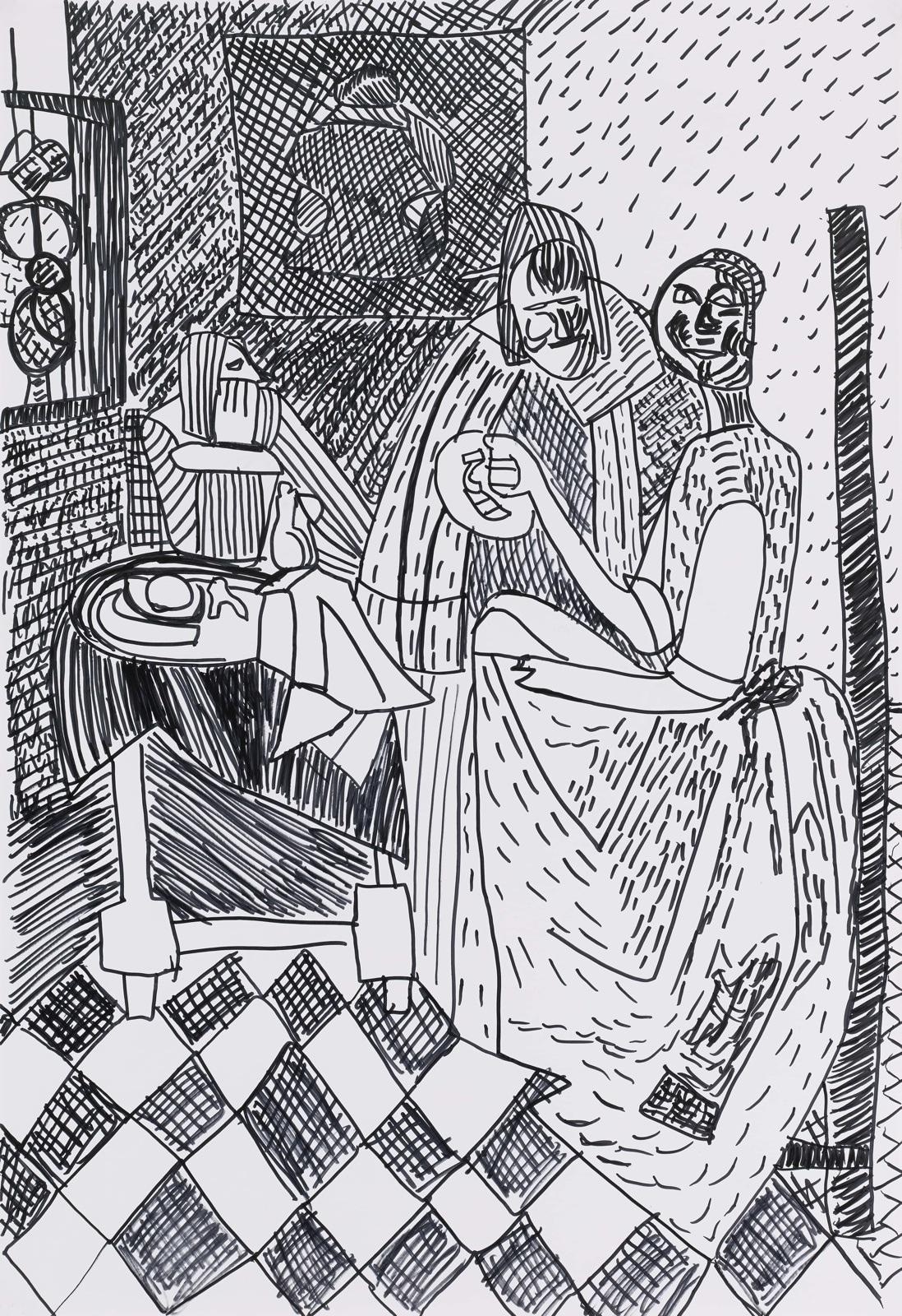 Dessin, feutre : La Jeune Fille au Verre de Vin (d'après Vermeer)