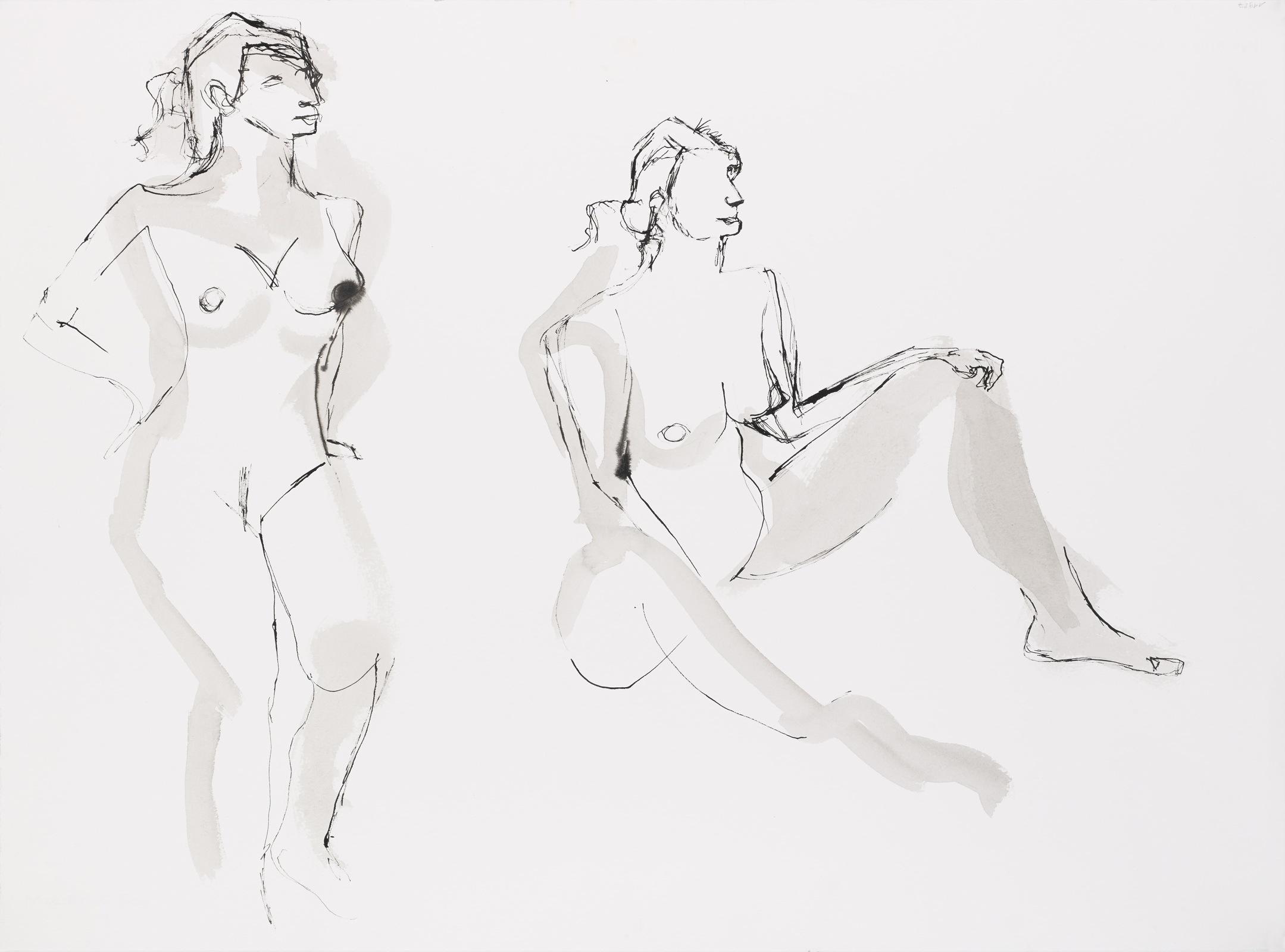 Dessin, Encre de chine avec lavis : Etude de femme