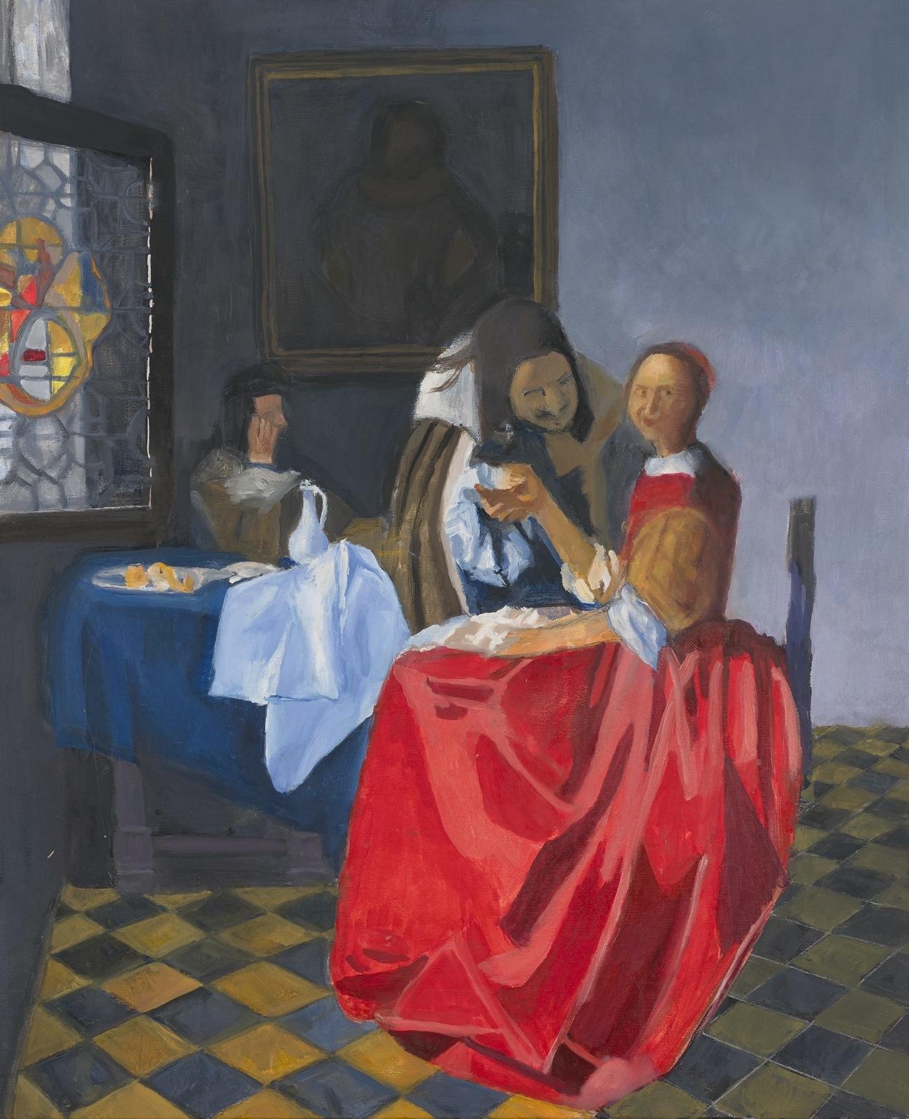 Tableau copie - Peinture à l'huile : Jeune fille au verre de vin de Vermeer