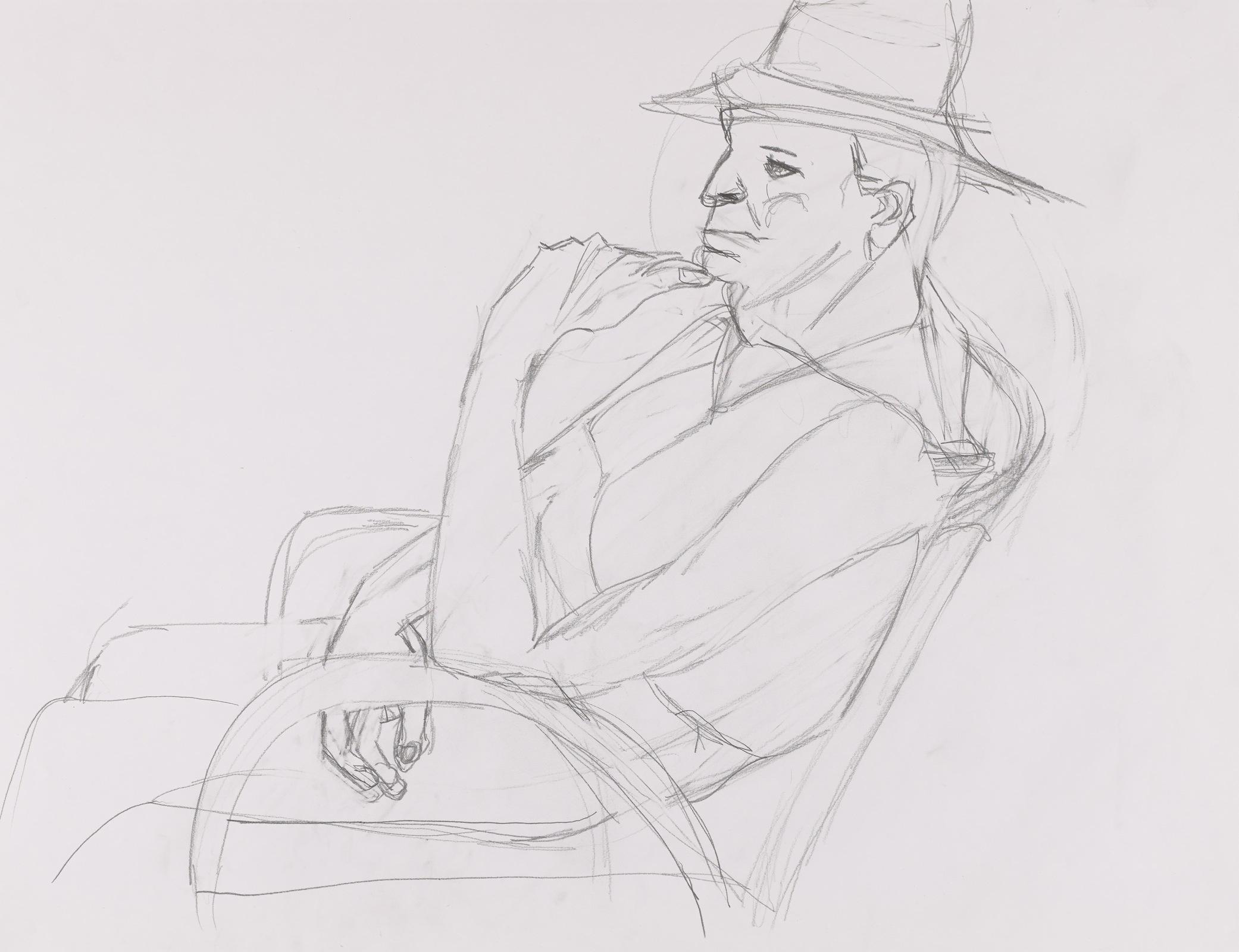Dessin, crayon : homme avec chapeau
