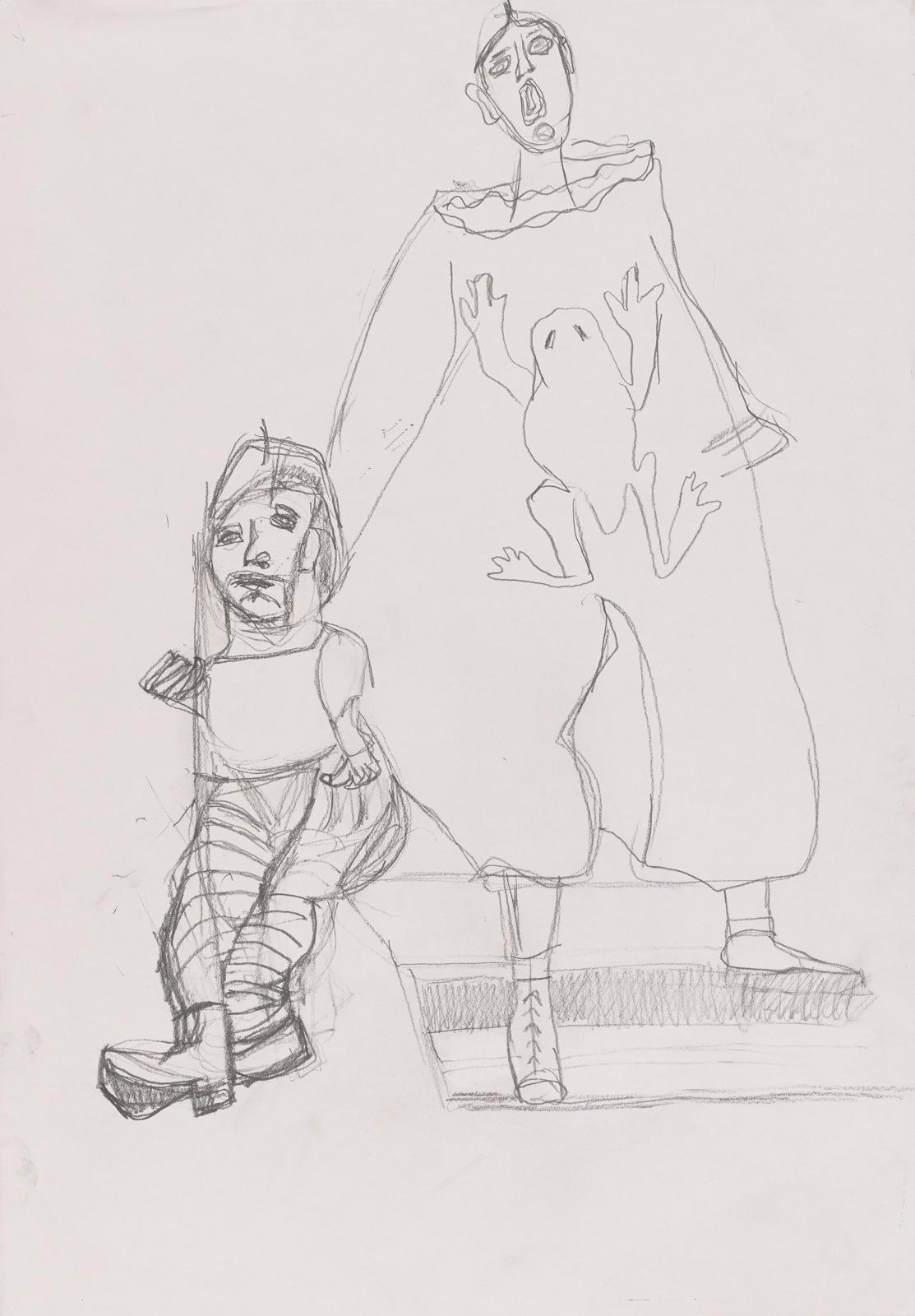 Dessin, Crayon : Arlequin avec marionnette -