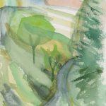 Colline à Prague - Dessin - David Kennedy, Artiste Peintre - Paris