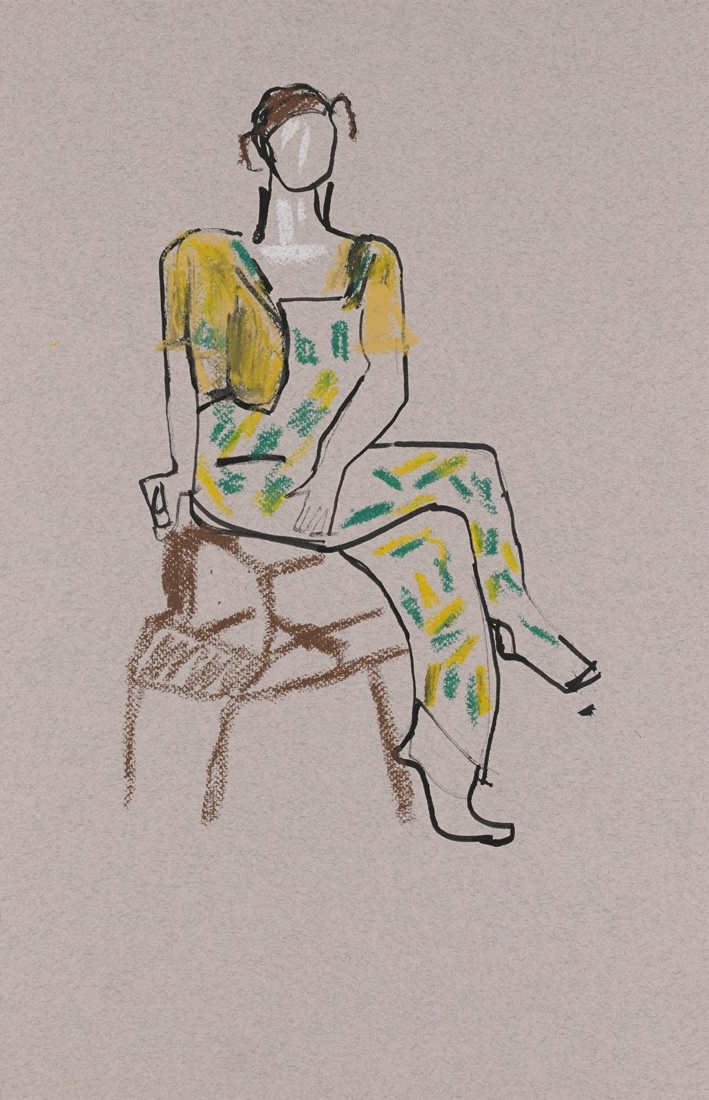 Dessin, crayons de couleur : Femme assise