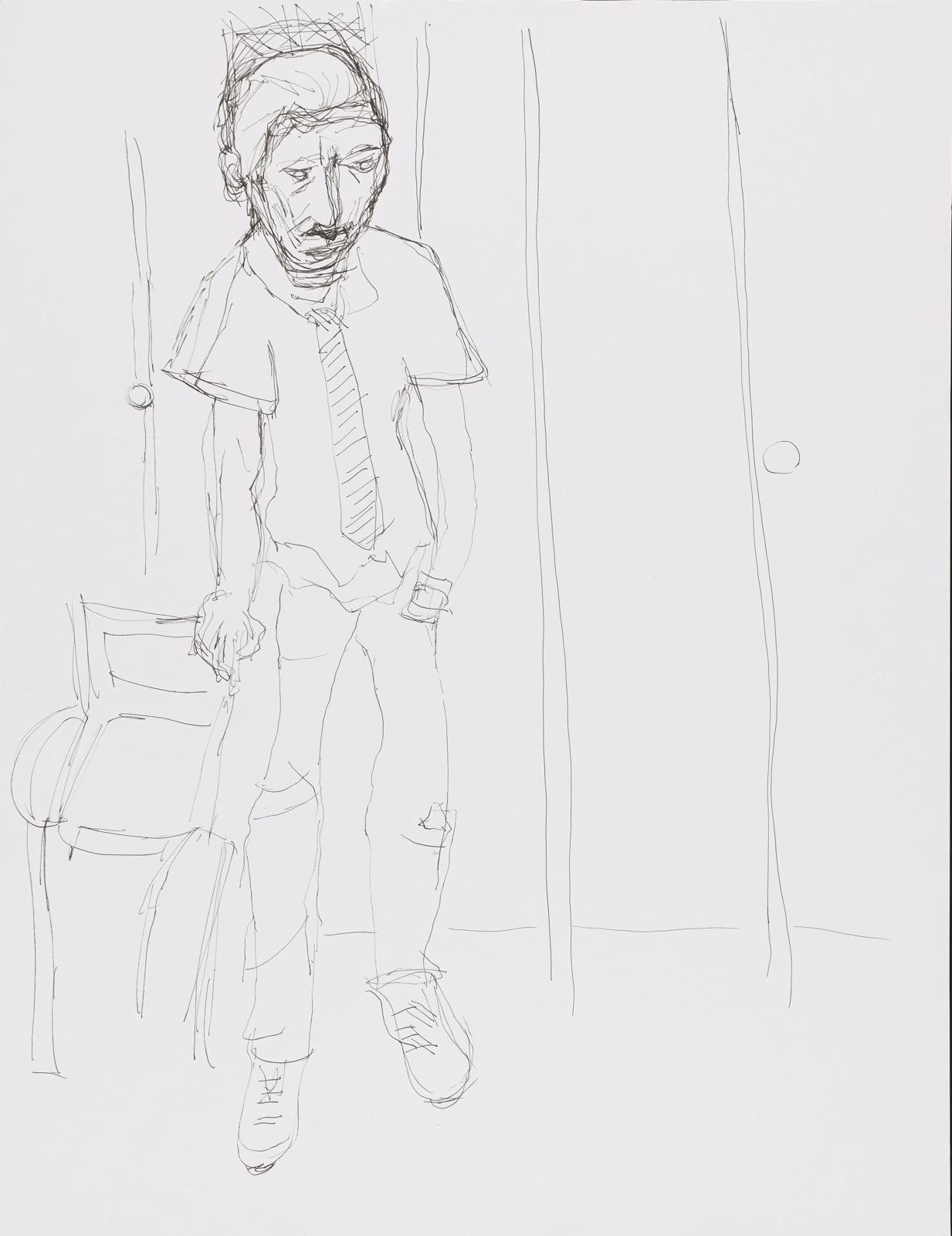 Dessin, crayon : Claude debout