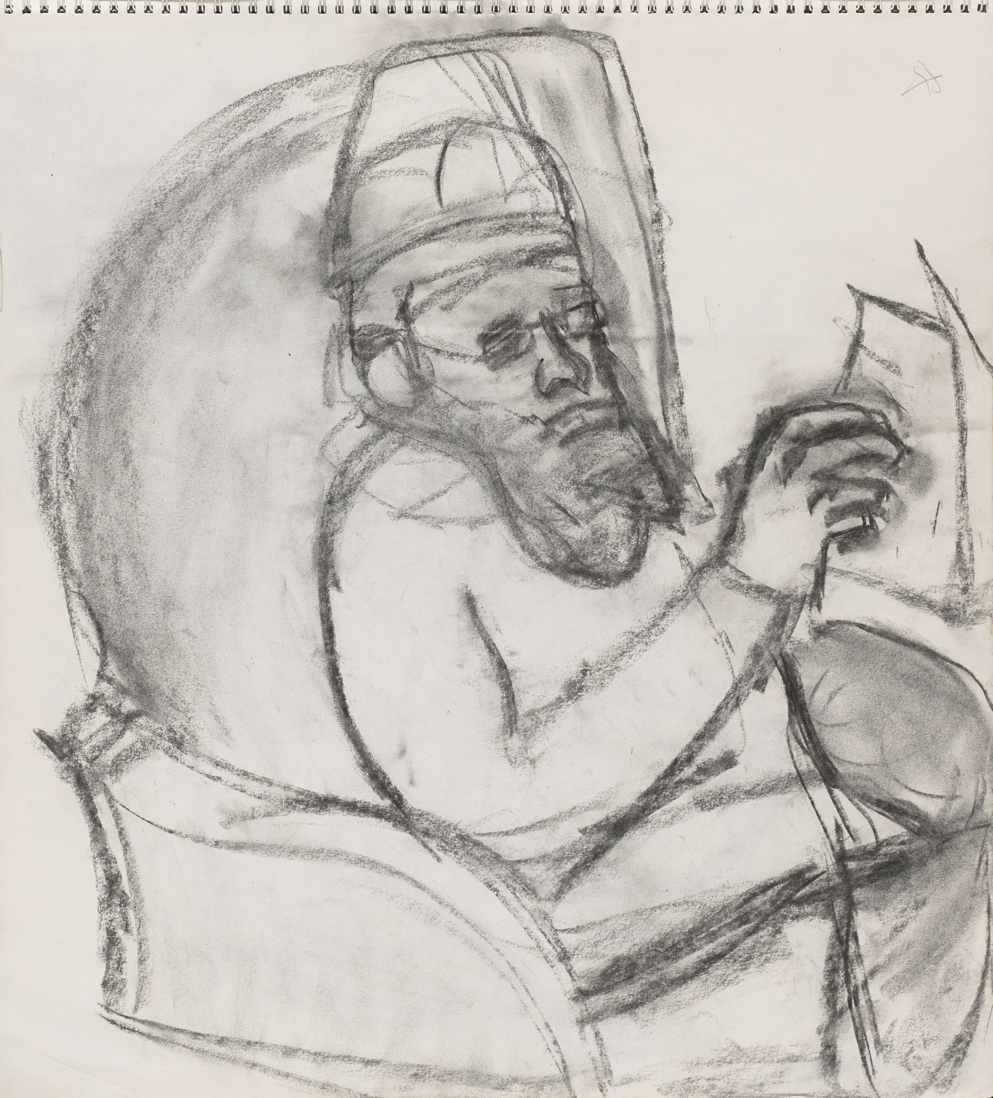 Dessin, crayon : Denis prieur lisant