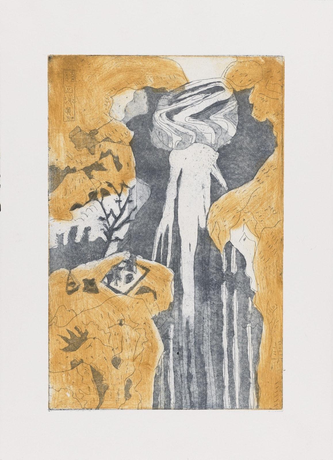 Gravure - Eau forte et acquatinte - Chutes d'après Hokusai