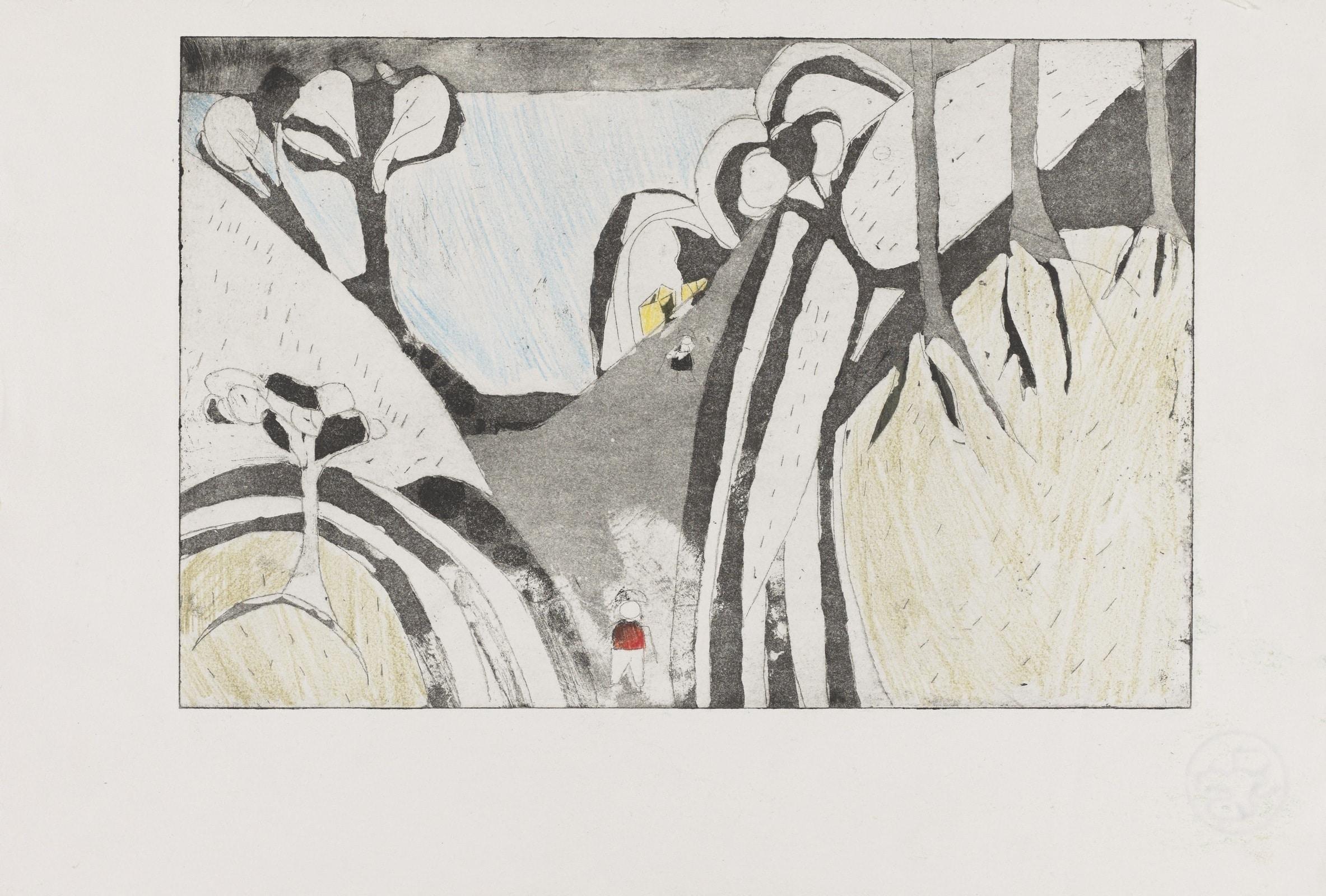 Gravure - Eau forte et acquatinte avec collage de papier  - Paysage avec colline et arbres