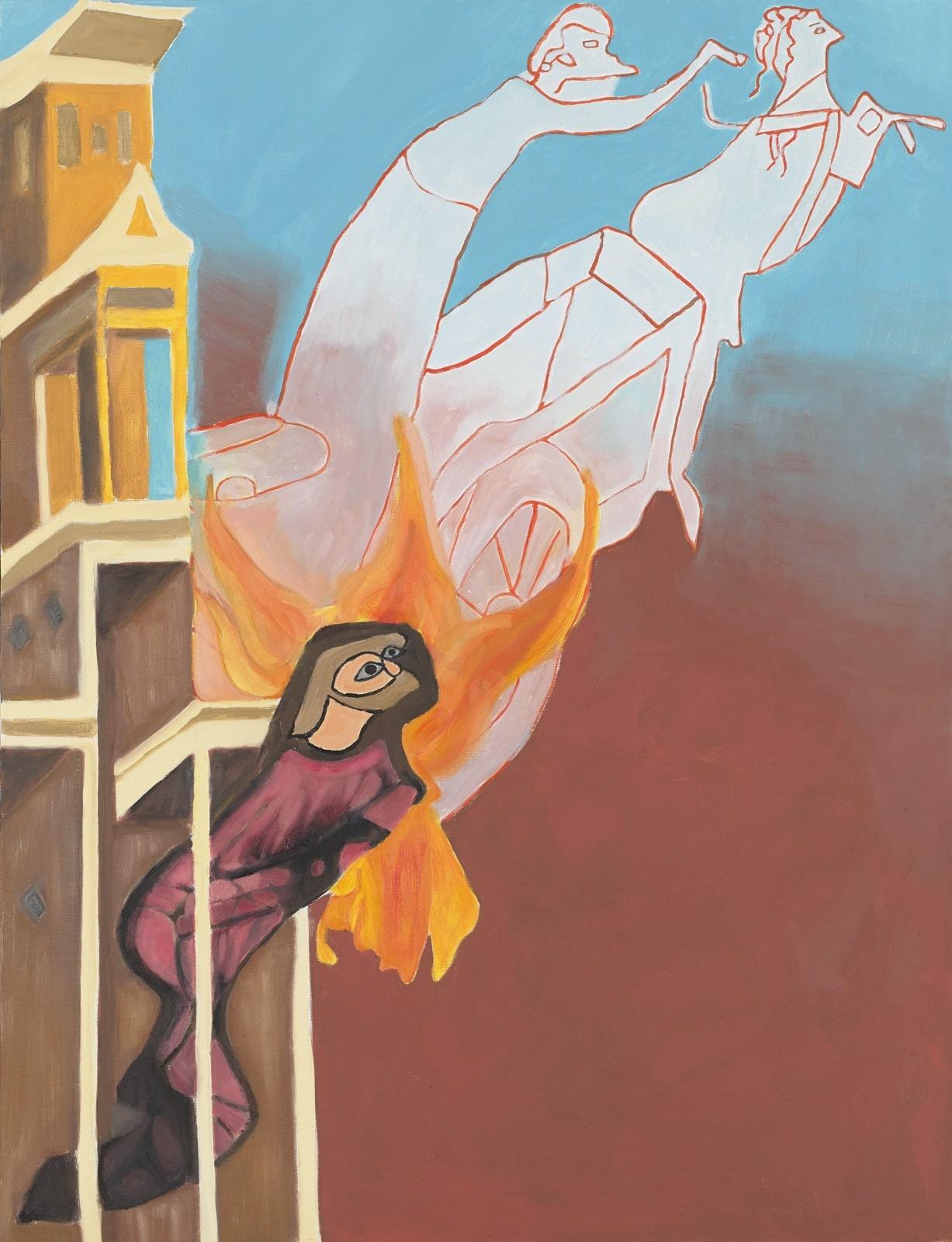 Tableau contemporain - Peinture à l'huile : Un frère mineur voyant Saint François monter au ciel dans un char en feu