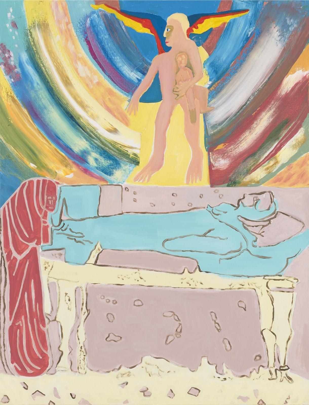 Tableau contemporain - Peinture à l'huile : Funérailles de Saint François