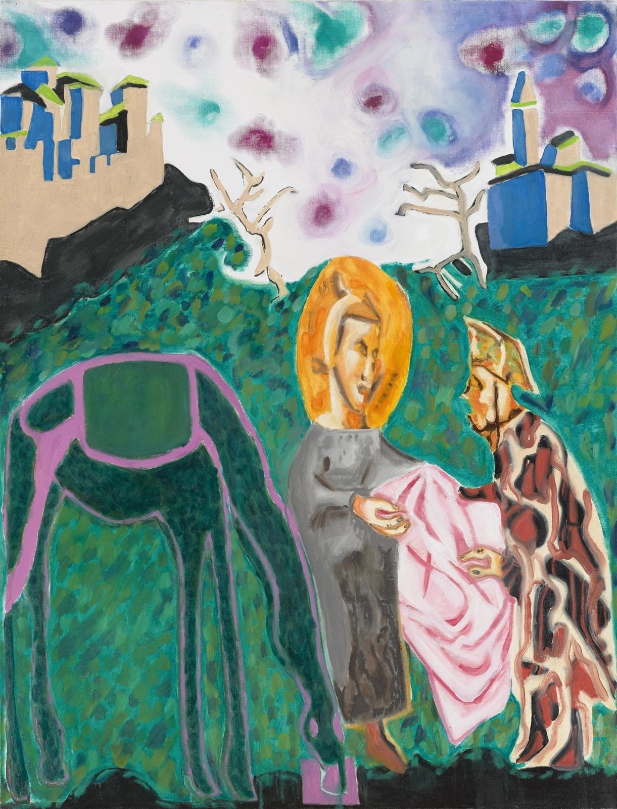Tableau contemporain - Peinture à l'huie : Don de tunique à un mendiant