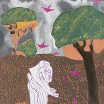 Saint françois oiseaux - tableau - David Kennedy, Artiste Peintre - Paris