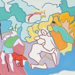 diane et acteon : tableau contemporain, peinture à l'huile