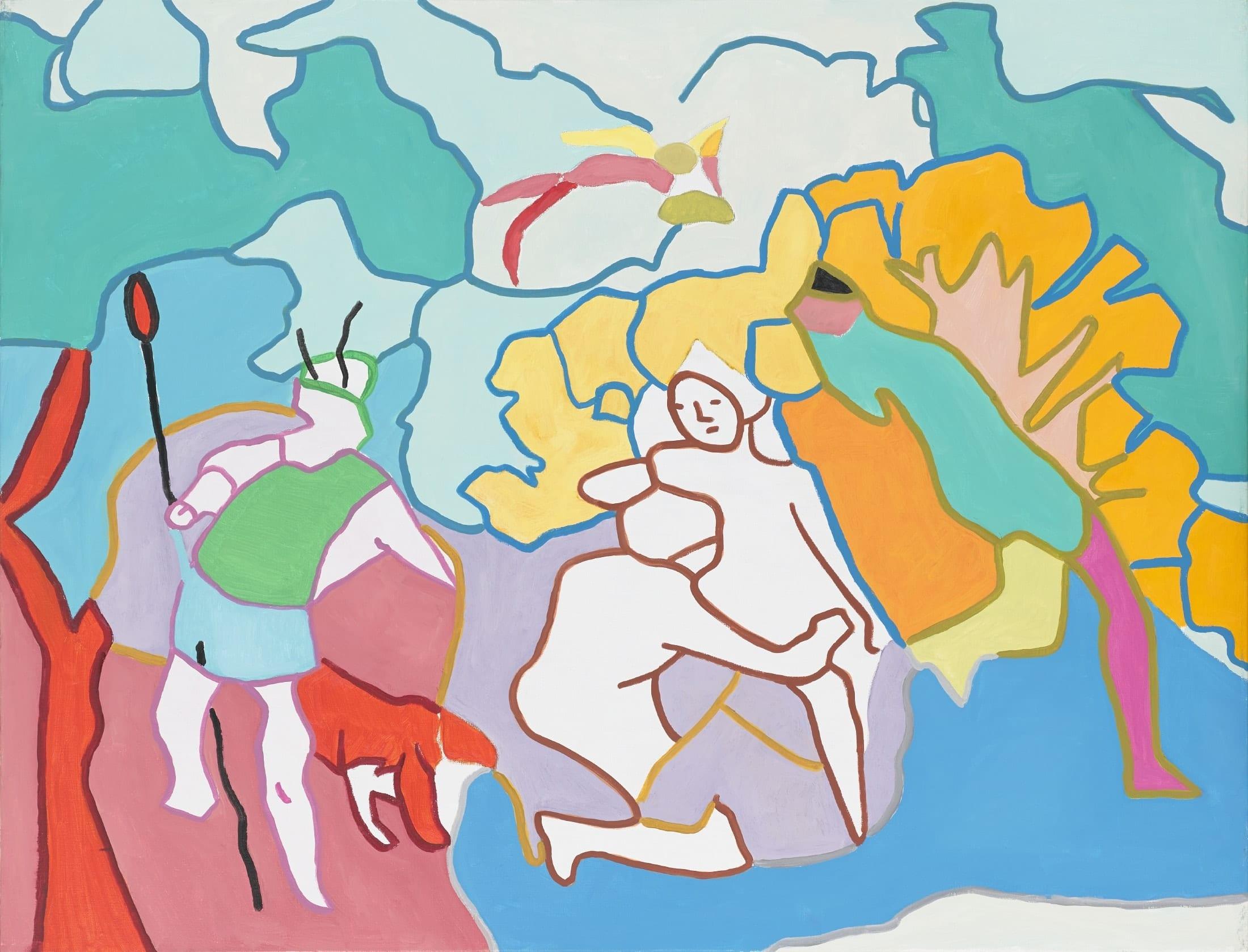 Tableau contemporain - Peinture à l'huile : Diane et Actéon