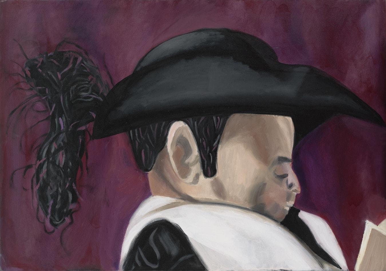Tableau contemporain - Peinture à l'huile : Claude lisant