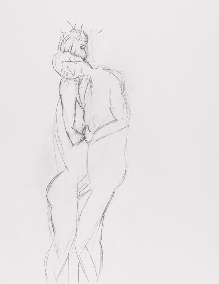 Dessin, Crayon : Couple entrelacé