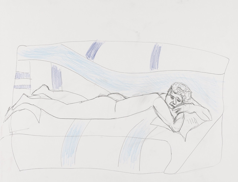 Dessin, Crayon et crayons de couleurs : Femme allongée