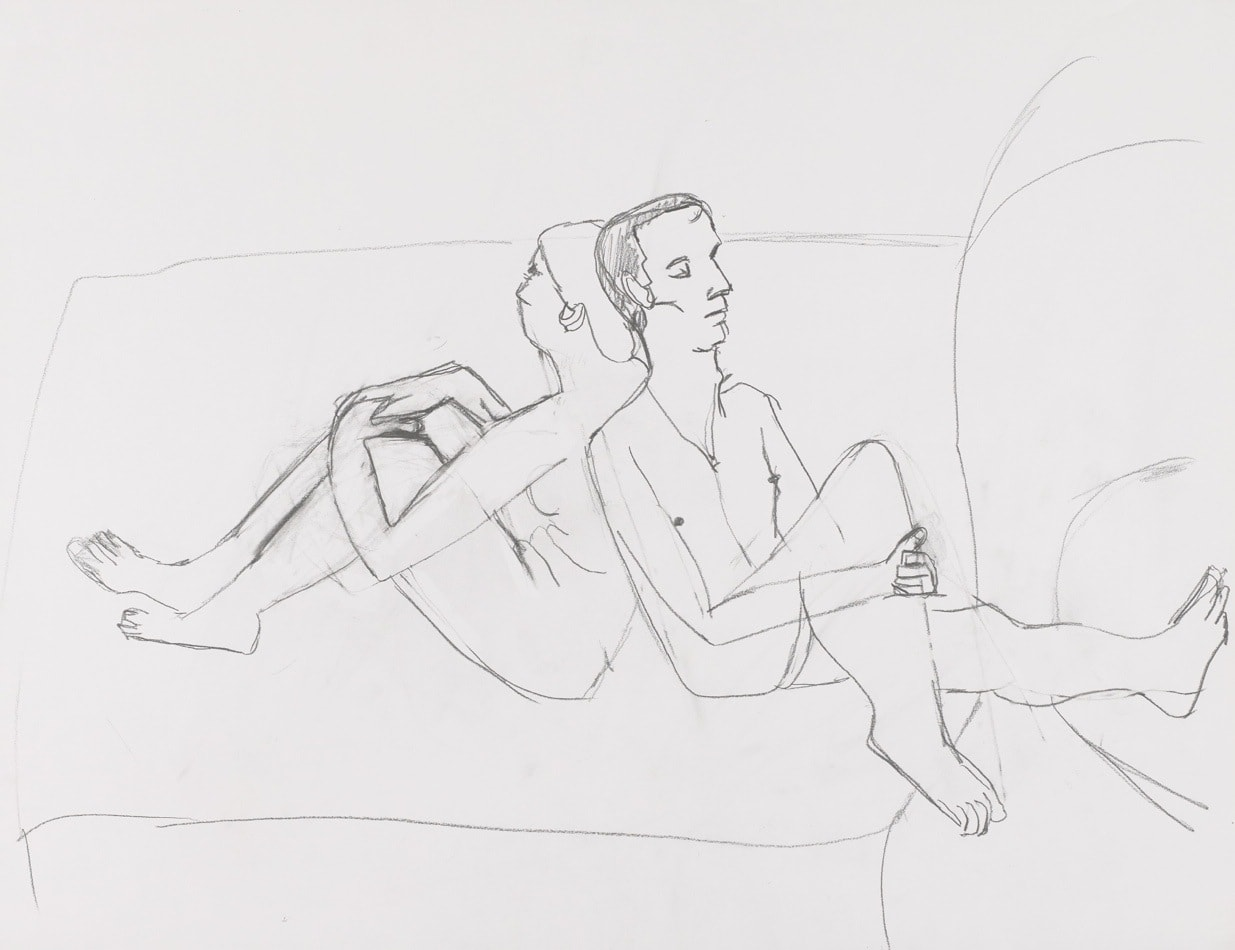 Dessin, crayon : Couple dos à dos