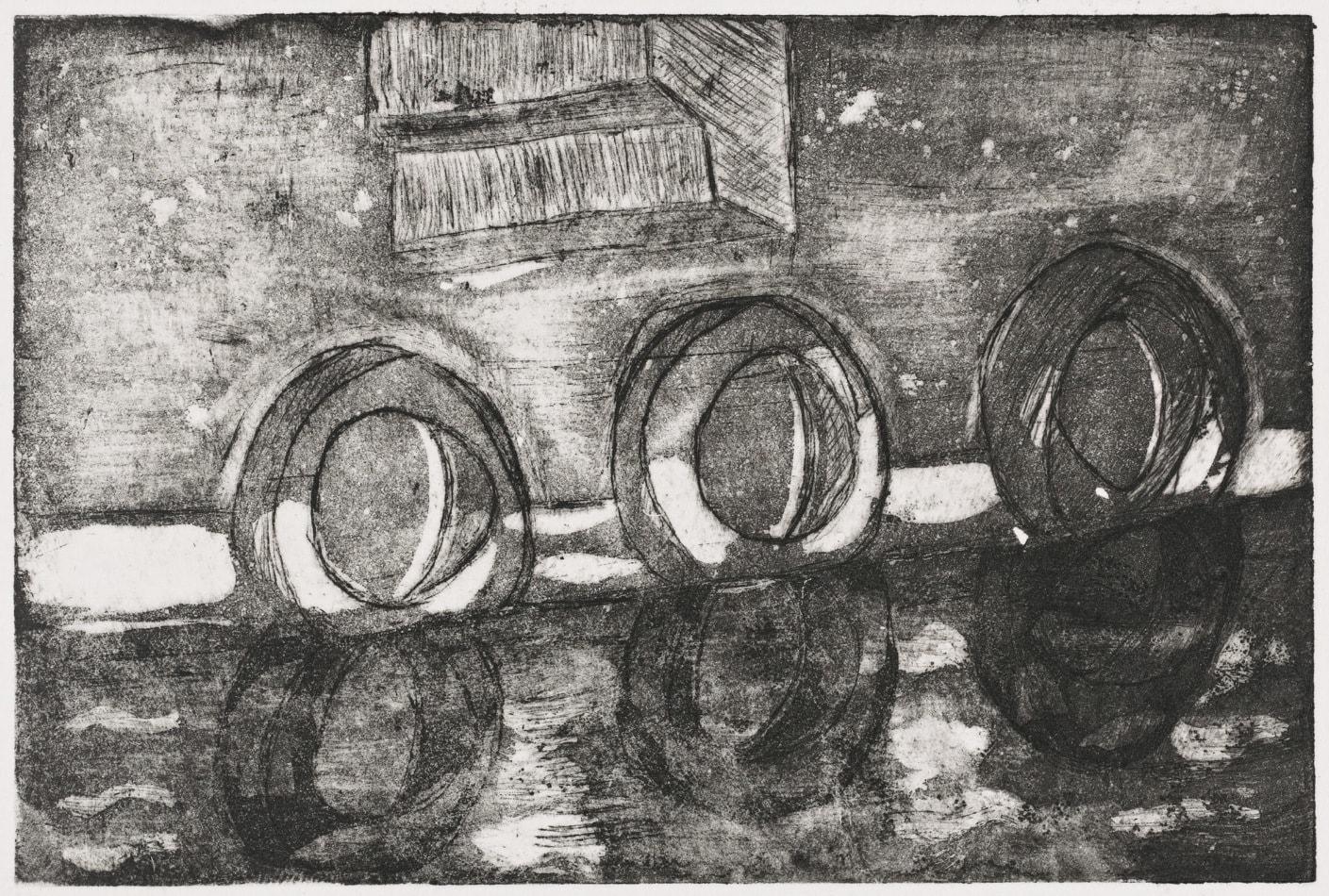 Gravure - Eau forte et aquatinte - Reflets des pneus dans l'eau