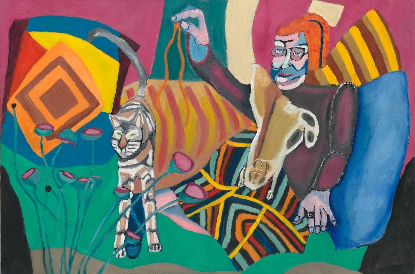 tableau portrait de la marraine et son chat peinture à l'huile