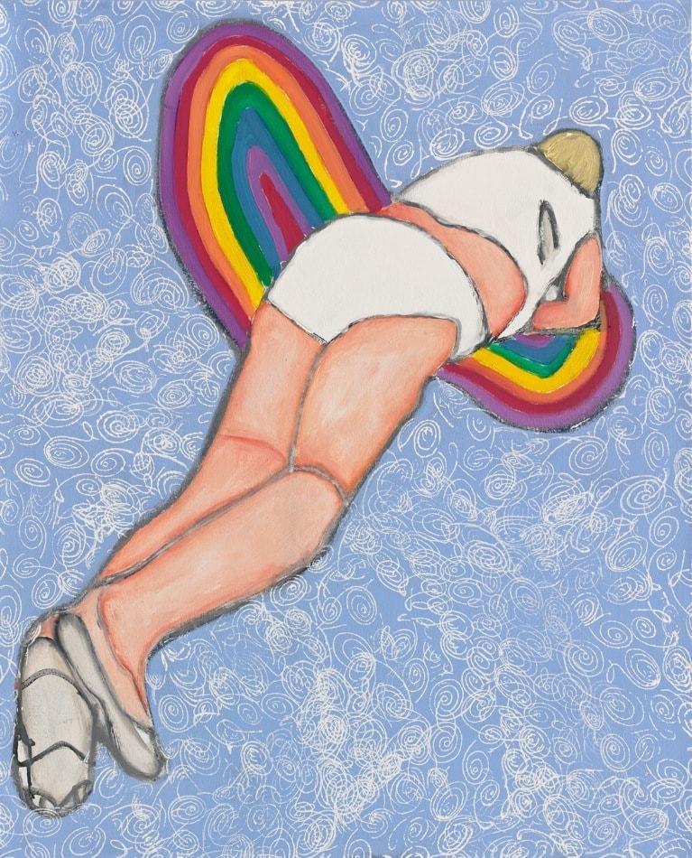 Tableau contemporain - Peinture à l'huile : Jean Paul s'envolant au paradis