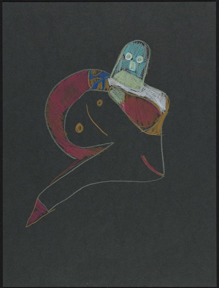 Dessin - Personnage imaginaire - Crayon de couleurs sur papier