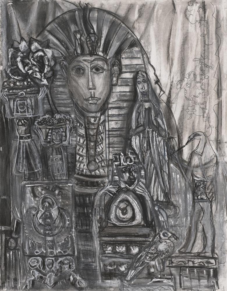 Dessin - babioles d'Egypte - crayon et pastel sur papier