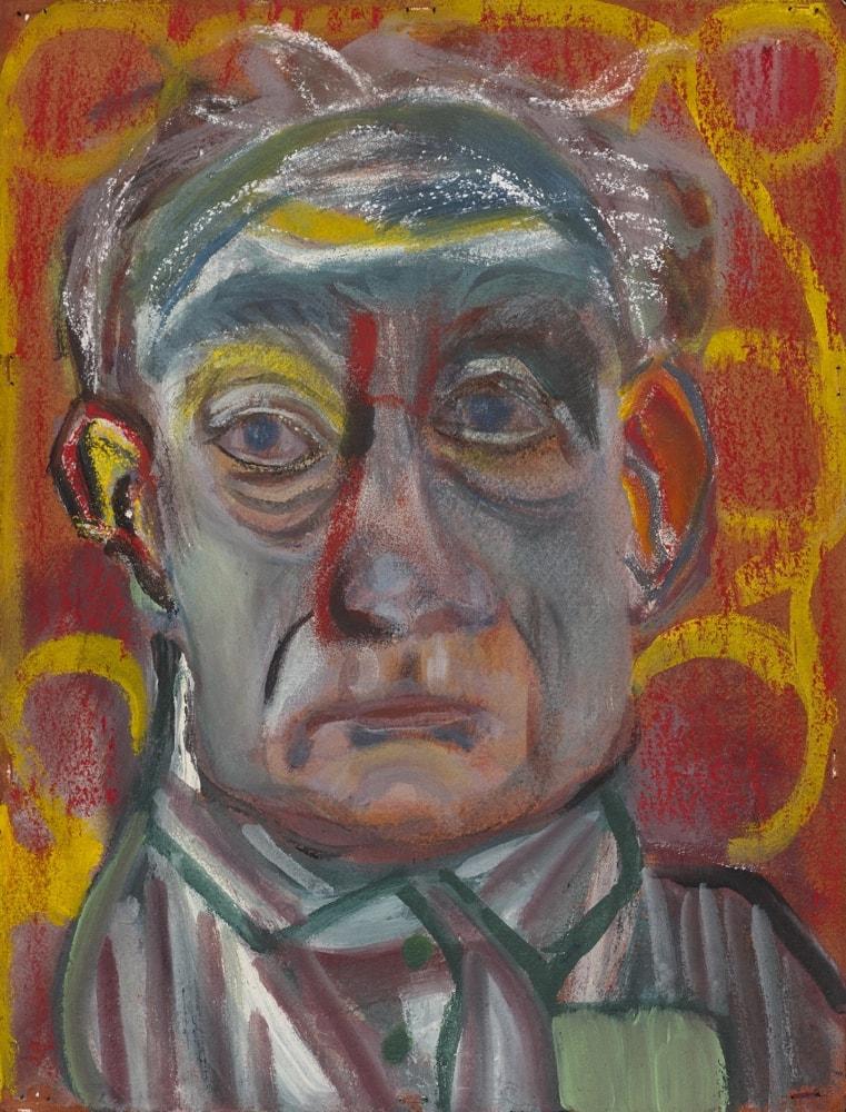Dessin - Tête de Gérard Beringer sur fond rouge - pastel sur papier